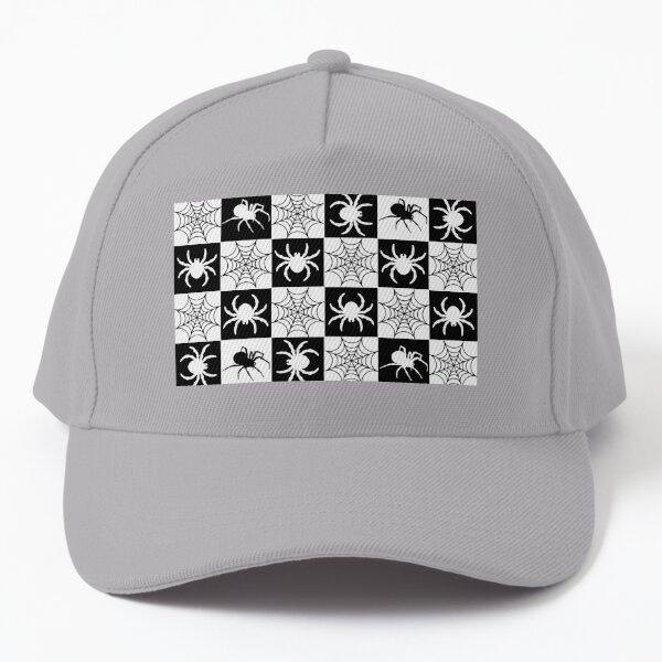 black and white spider pattern, creepy spiders - Halloween Baseball Cap