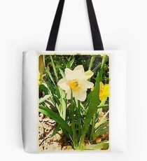 White Garden Daffodil in the Morning Sun Tote Bag