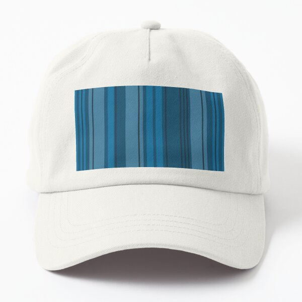 Lyrical Blue, Monochromatic Blue Stripes, Abstract Barcode by Courtney Hatcher Dad Hat
