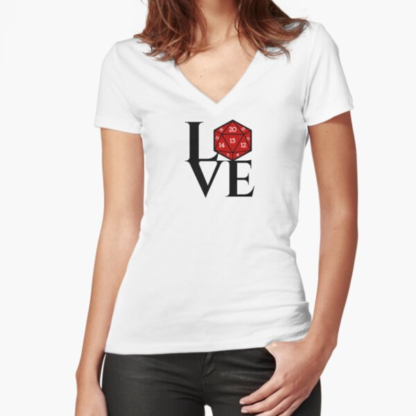 D20 - LOVE Fitted V-Neck T-Shirt