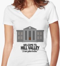 Welcome to Hill Valley Women's Fitted V-Neck T-Shirt