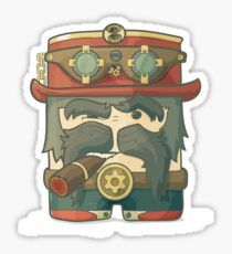 Steampunk dirigible pilot with goggles and hat, leather jacket Sticker