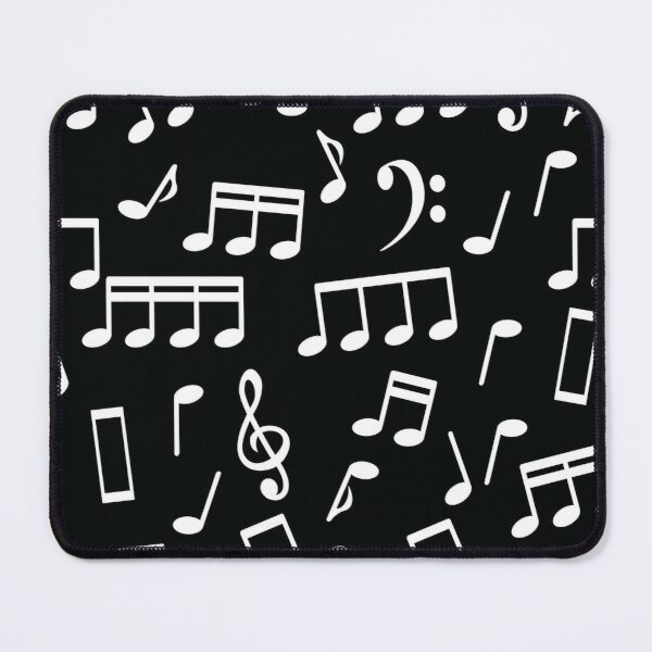 White Music Notes on Black Background Mouse Pad