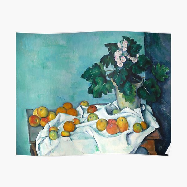 Vintage Art - Still Life with Apples and a Pot of Primroses | Paul Cézanne French (Color Remastered) Poster