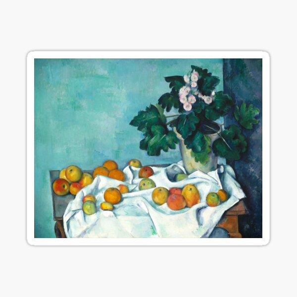 Arte vintage - Naturaleza muerta con manzanas y una olla de prímulas | Paul Cézanne French (Color Remastered) Pegatina