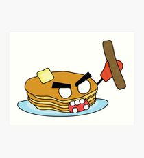 angry zombie pancakes wielding a sausage Art Print