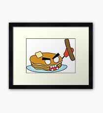 angry zombie pancakes wielding a sausage Framed Print