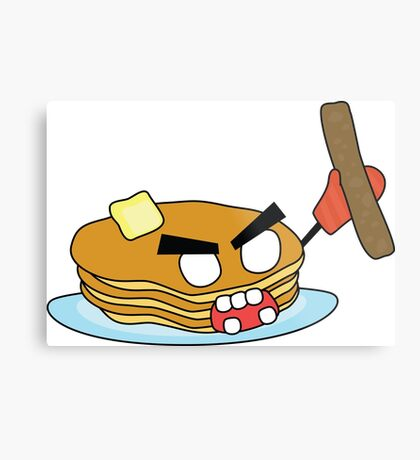 angry zombie pancakes wielding a sausage Metal Print