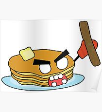 angry zombie pancakes wielding a sausage Poster