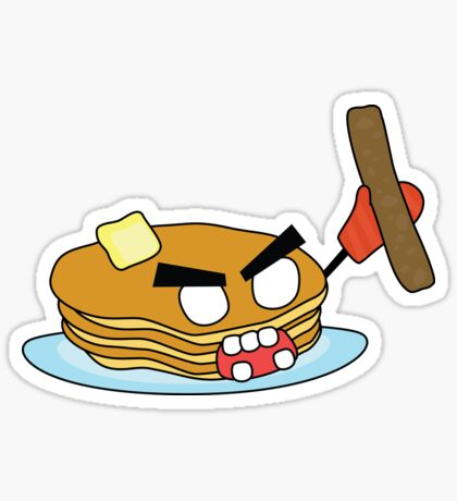 angry zombie pancakes wielding a sausage Glossy Sticker
