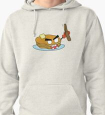angry zombie pancakes wielding a sausage Pullover Hoodie