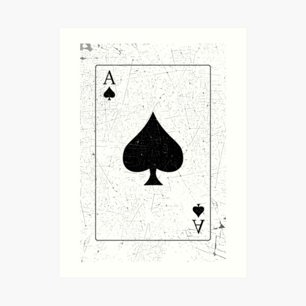 Vintage Look Ace of Spades Playing Card Graphic Art Print