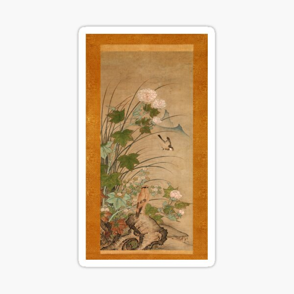 Birds and Flowers in Summer - XVI Century Japan by Shikibu Terutada Sticker