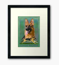 German Shepherd Breed Art With NamePlate Framed Print