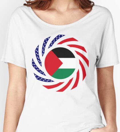 Palestinian American Multinational Patriot Flag Series Relaxed Fit T-Shirt