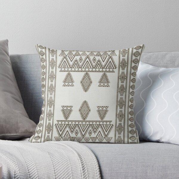 White Oriental Traditional Moroccan Farmhouse Style Throw Pillow
