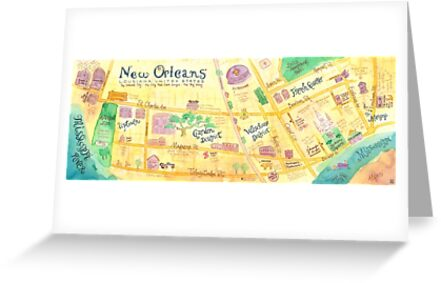 Illustrated Map Of New Orleans Louisiana USA Greeting Cards By - Map of new orleans usa