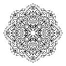 Dekoratives rundes Blumenmuster von Viktoriia