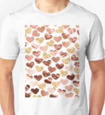 Rose gold hearts Unisex T-Shirt