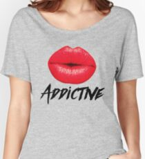 Red Lips Lipstick Addictive  Women's Relaxed Fit T-Shirt