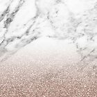 Rose gold glitter on marble by peggieprints