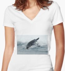 Diving Emperor Penguin Women's Fitted V-Neck T-Shirt