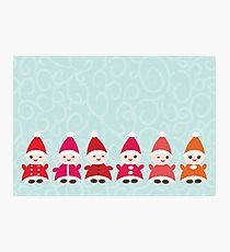 Merry Christmas, Happy New Year card, Funny gnomes Photographic Print