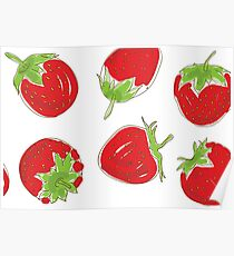 strawberries on white background Poster