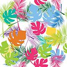 Colorful  tropical leaves by Lusy Rozumna