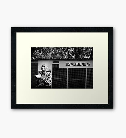 Poppy with the Pigeons -B&W  Entry into 2NC 1233 ABC Radio Portrait Competition Framed Print