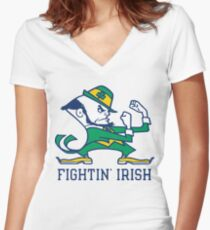 notre dame fighting irish Women's Fitted V-Neck T-Shirt