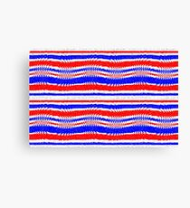 Red White Blue Waving Lines Canvas Print