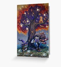 Young witch reading magic book Greeting Card