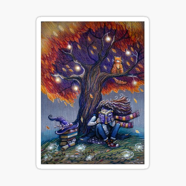 Young witch reading magic book Sticker
