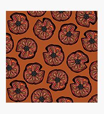 Poppies on Rusted Yellow - poppy flower pattern Photographic Print