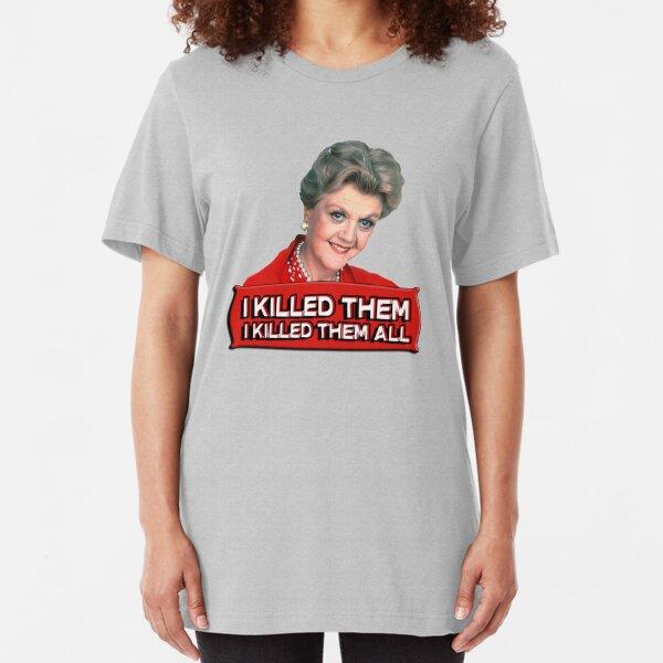 Angela Lansbury (Jessica Fletcher) Asesinato ella escribió confesión. Los maté a todos. Camiseta ajustada