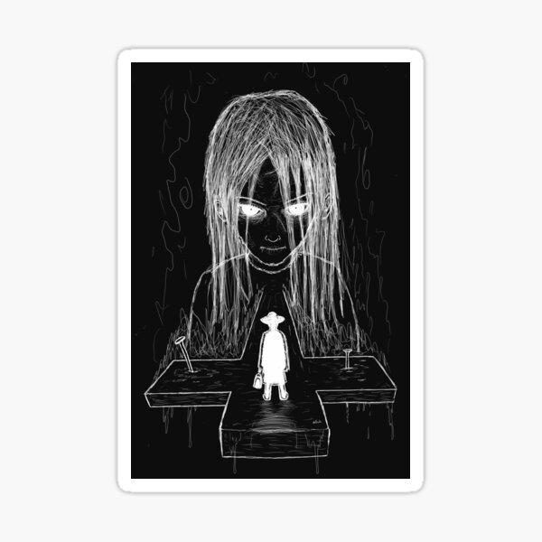 exorcist - bw (white version) Sticker