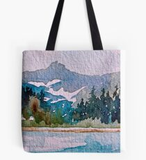 Blue-Teal Mountain Wild and Rugged Tote Bag
