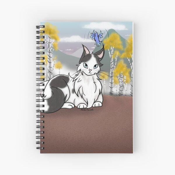 Cat and bird in an aspen forest. Spiral Notebook