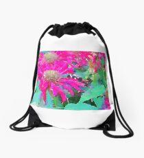 Pink Bee Balm Drawstring Bag