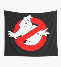 Yaranaika Ghostbusters - No Ghost on black Wall Tapestry