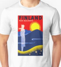 FINLAND; Travel & Tourism Advertising Print Unisex T-Shirt