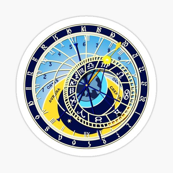 Astronomical, Clock, Prague, Orloj, Czech, on BLACK. Sticker