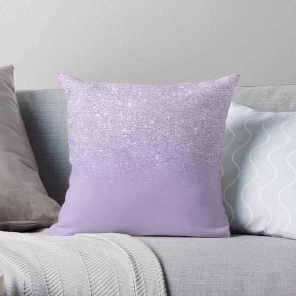 Stylish purple lavender glitter ombre color block Throw Pillow