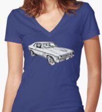 Camiseta entallada de cuello en V 1969 Chevrolet Nova Yenko 427 Muscle Car Illustration