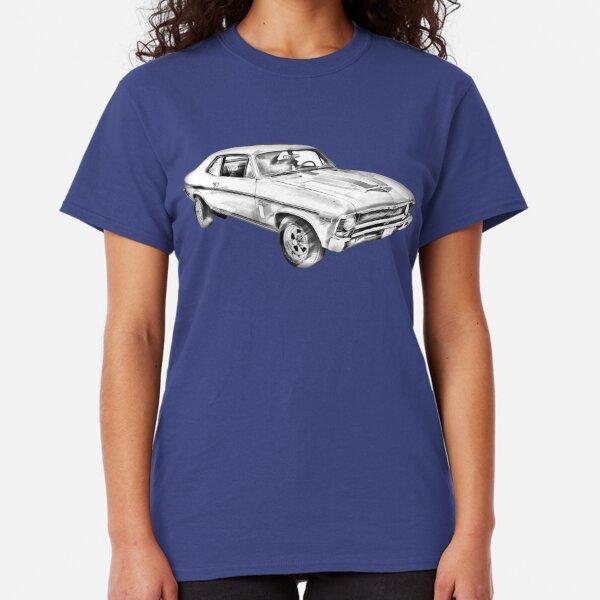 1971 Black Chevy Camaro Z28 Custom Hot Rod USA T-Shirt 71 Muscle Car Tees