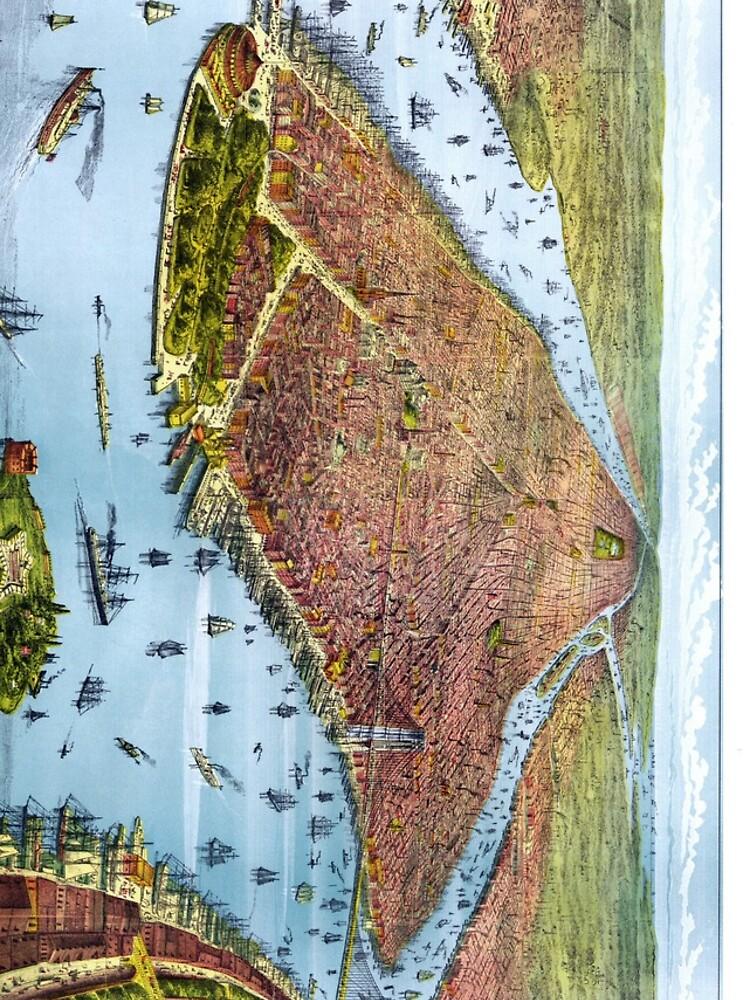 Vintage Pictorial Map of New York City (1879) de BravuraMedia