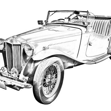 MG Convertible Antique Car Illustration by KWJphotoart