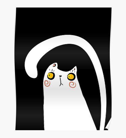 Dark Night White Cat Poster