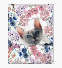 Cute kitten and watercolor floral hand paint design. iPad Case/Skin